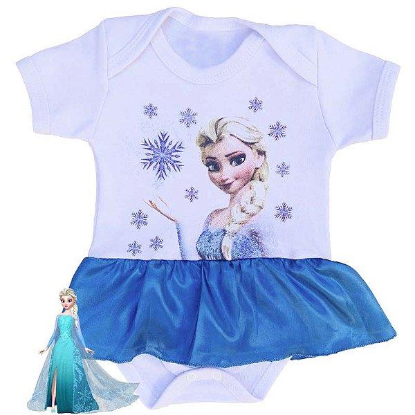 Body Vestido Bebê Elsa Frozen