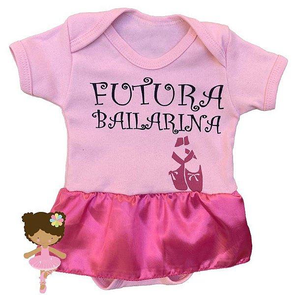 Body Vestido Bebê Futura Bailarina Rosa