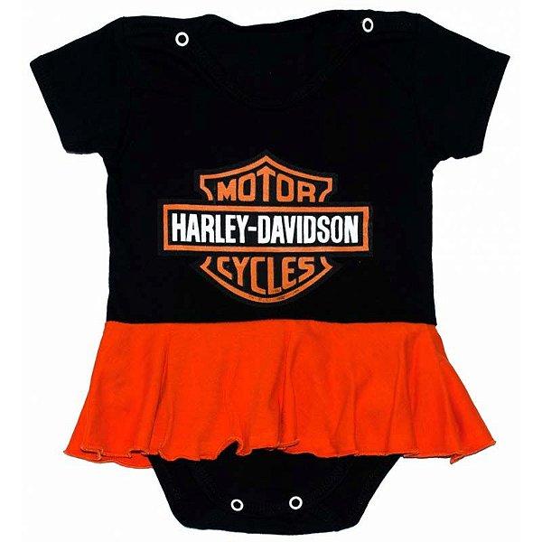 Body Vestido Bebê Luxo Harley Davidson Menina