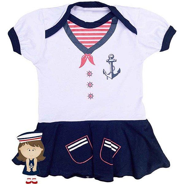 Body Vestido Bebê Luxo Marinheira