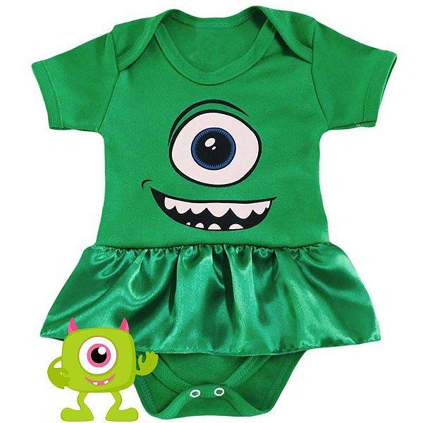 Body Vestido Bebê Monstros SA Mike Menina
