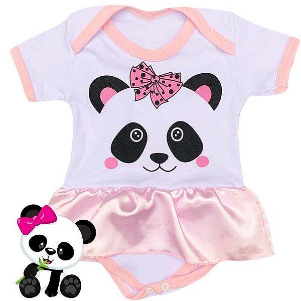 Body Vestido Bebê Panda Rosa