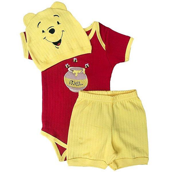 Conjunto Bebê Body Shorts Ursinho Pooh com Touca Orelhinhas