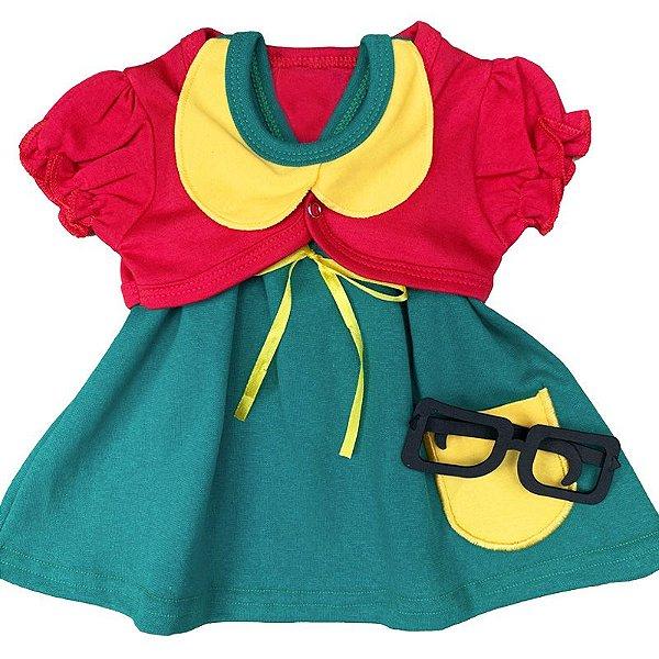 Conjunto Vestido Bebê Chiquinha com Óculos