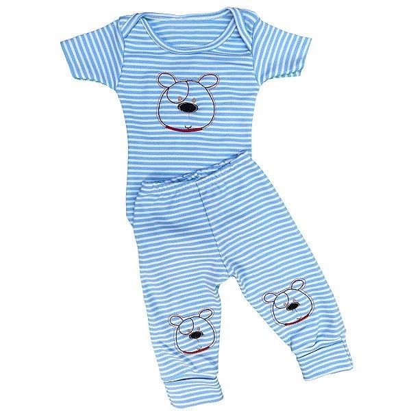 Conjunto Bebê Body e Mijão Listrado Cachorrinho Azul Claro