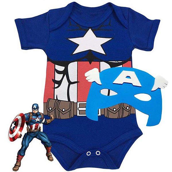 Kit Body Bebê Capitão América com Máscara