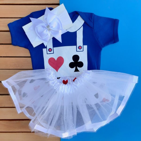 Kit Body Bebê Luxo Tule Alice no País das Maravilhas