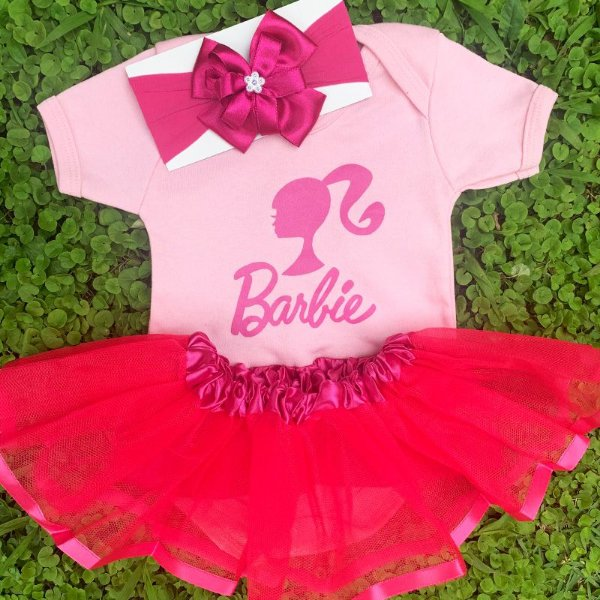 Kit Body Bebê Luxo Tule Barbie