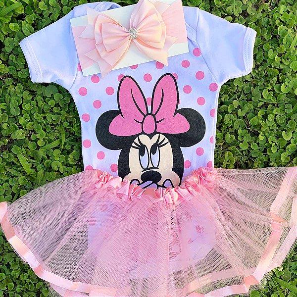 Kit Body Bebê Luxo Tule Minnie Rosa
