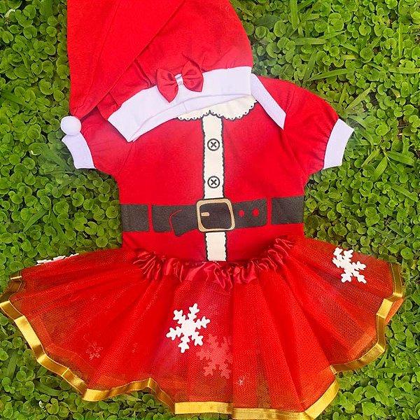 Kit Body Bebê Luxo Tule Natal Mamãe Noel com Gorro