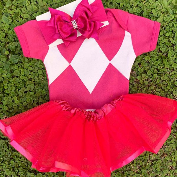 Kit Body Bebê Luxo Tule Power Rangers Rosa Pink