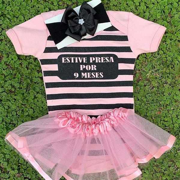 Kit Body Bebê Luxo Tule Estive Presa Por 9 Meses Rosa