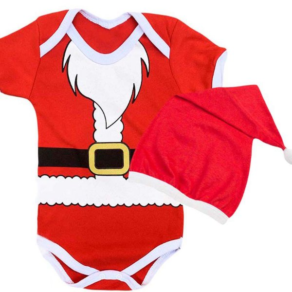 Kit Body Bebê Natal Papai Noel Barbudo com Gorro