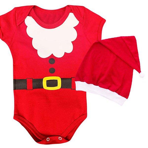 Kit Body Bebê Natal Papai Noel com Gorro