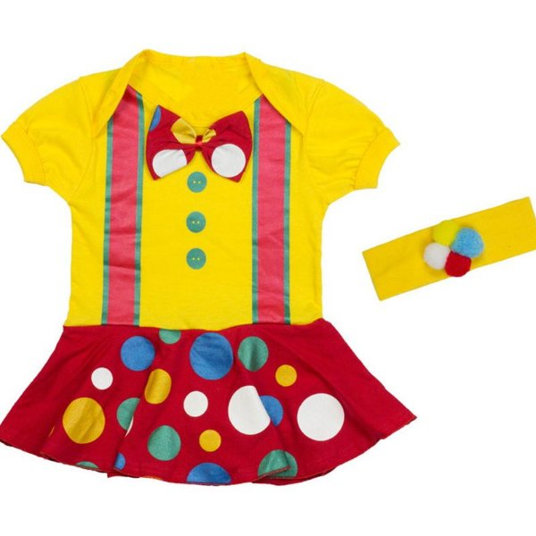 Kit Body Vestido Bebê Luxo Palhacinha com Faixa de Cabelo Pompom