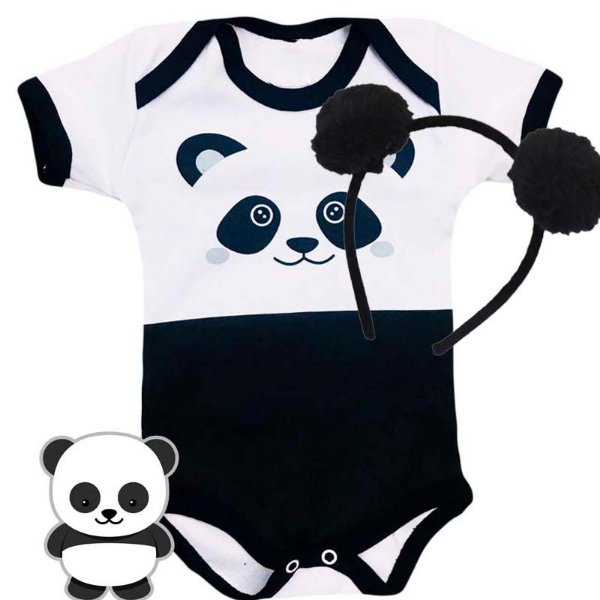 Kit Body Bebê Panda com Tiara Pompom Preta