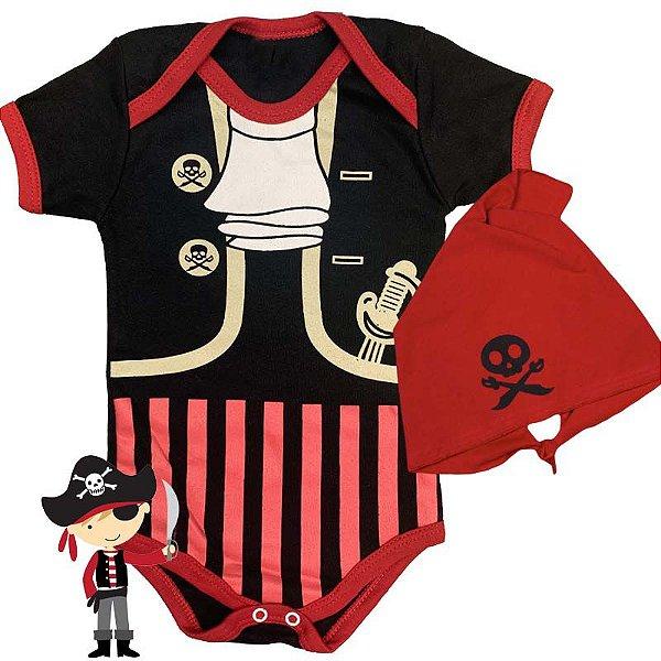 Kit Body Bebê Pirata com Bandana