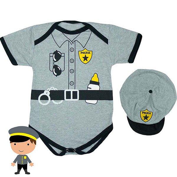 Kit Body Bebê Luxo Policial com Boina