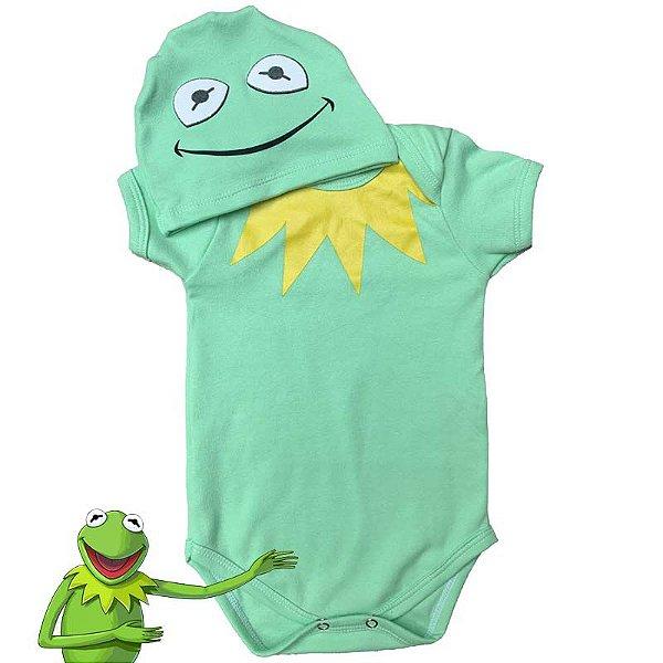 Kit Body Bebê Bichinhos Sapo Caco Muppets com Touquinha