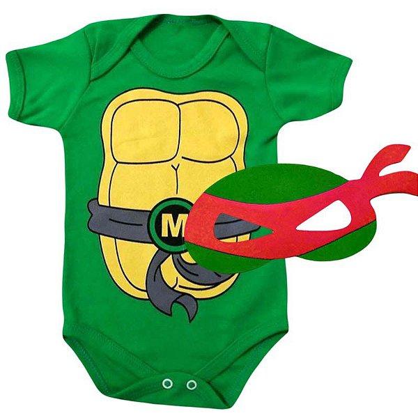 Kit Body Bebê Tartaruga Ninjas com Máscara