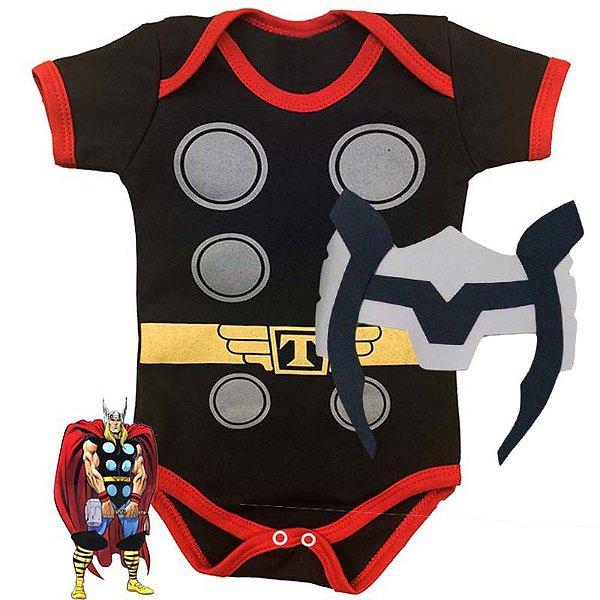 Kit Body Bebê Thor com Máscara