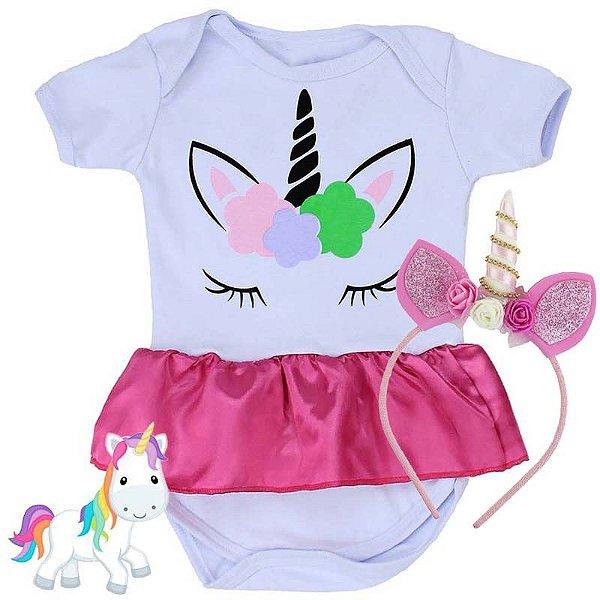 Kit Body Bebê Unicórnio com Tiara