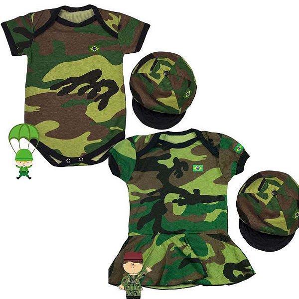 Kit Body Gêmeos Camuflado Exército com Boina