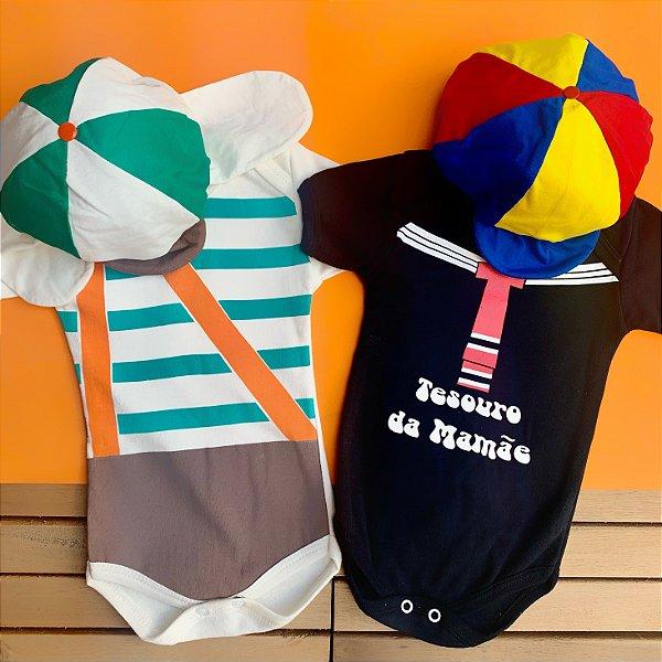 Kit Body Bebê Gêmeos Chaves e Kiko Tesouro da Mamãe