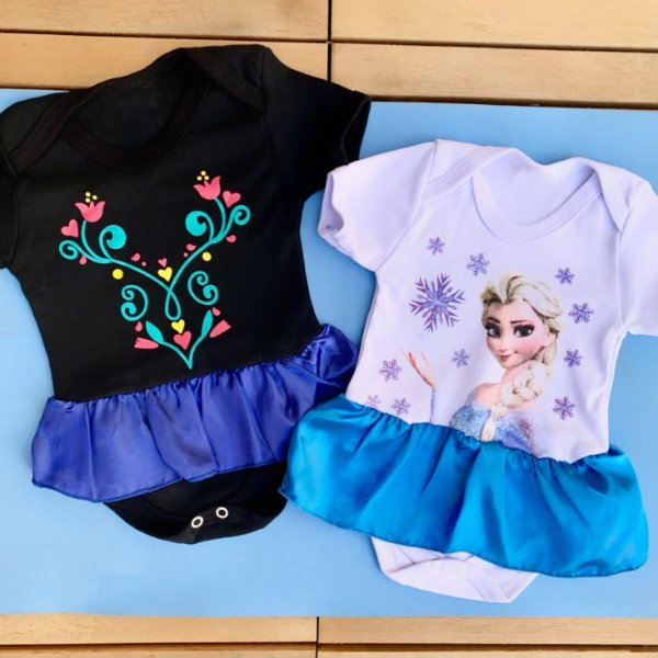 Kit Body Bebê Gêmeos Frozen Anna & Elsa
