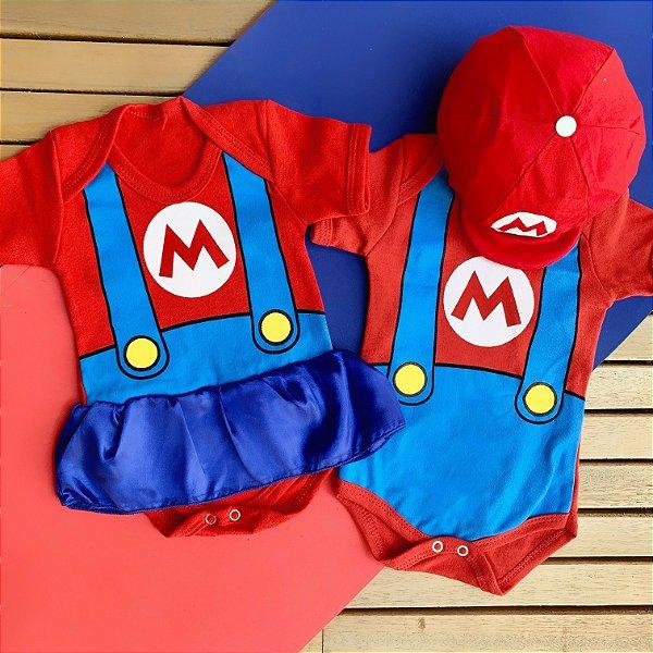 Kit Body Bebê Gêmeos Mario Bros