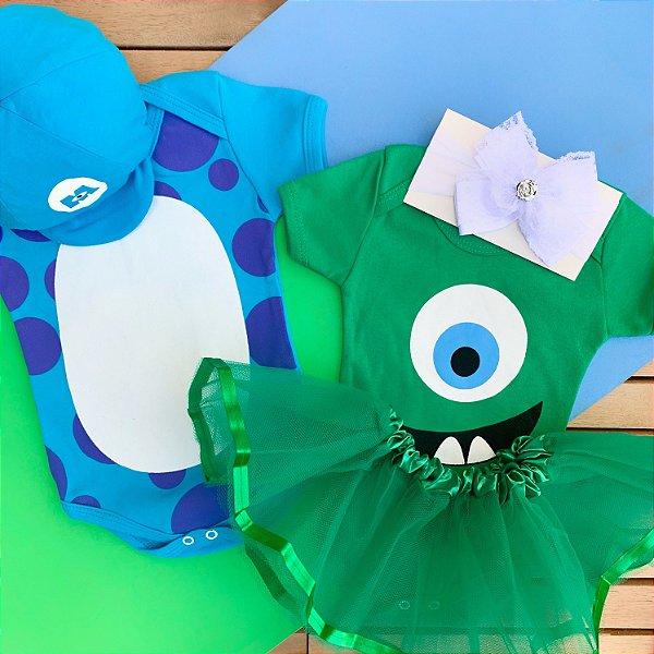 Kit Body Bebê Gêmeos Monstros SA Mike & Sulley