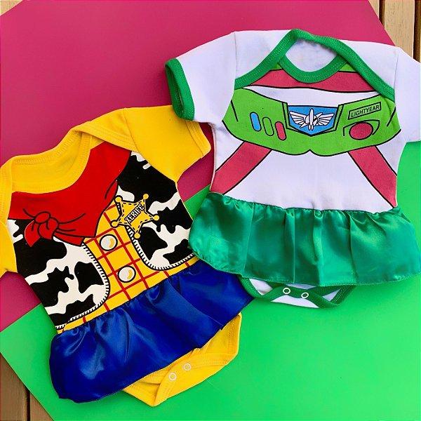Kit Body Bebê Gêmeos Toy Story Woody & Buzz Menina