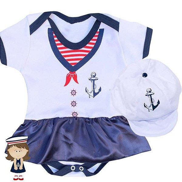 Kit Body Vestido Bebê Marinheira com Boina