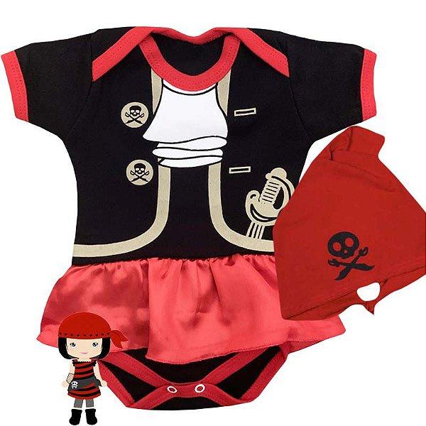 Kit Body Vestido Bebê Pirata com Bandana