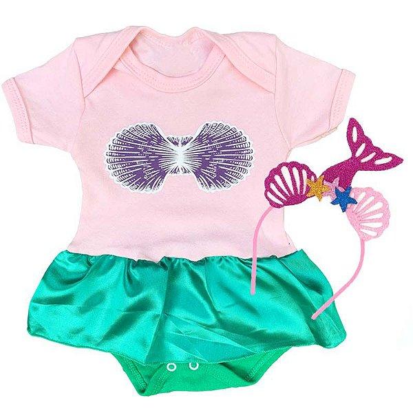 Kit Body Vestido Bebê Pequena Sereia com Tiara Conchas