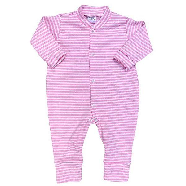 Macacão Bebê Básico Listrado Rosa