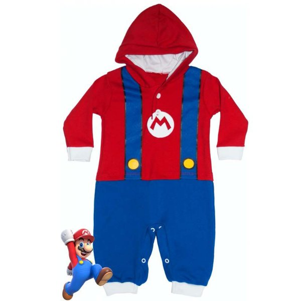 Macacão Bebê Suedine com Capuz Mario Bros