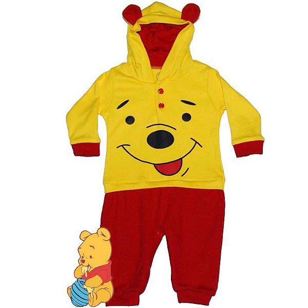 Macacão Bebê Suedine com Capuz Ursinho Pooh