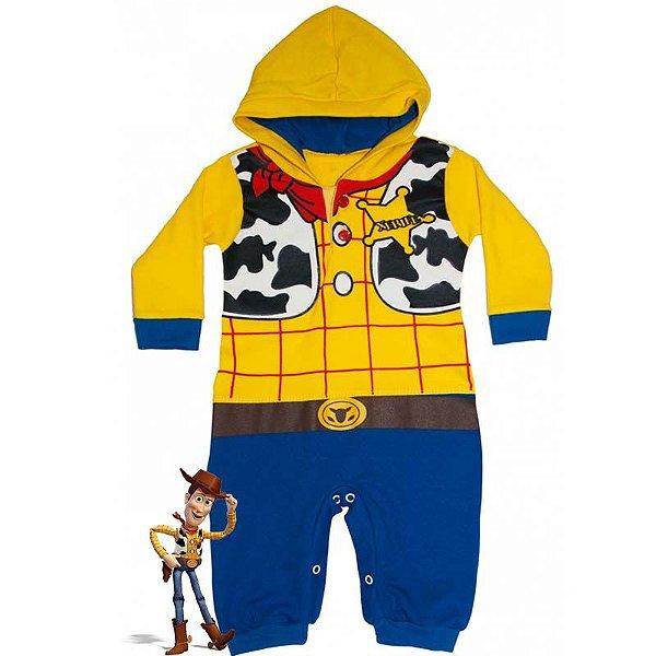 Macacão Bebê Suedine com Capuz Toy Story Woody