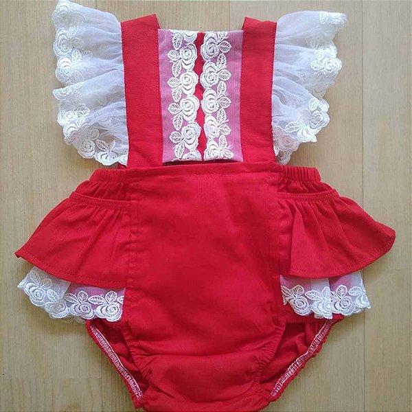 Romper Bebê Renda Vermelho