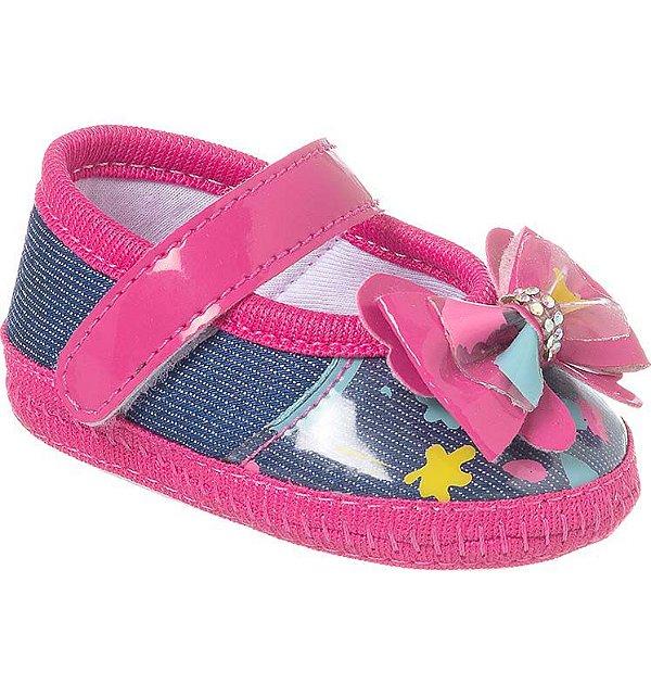 Sapatilha Bebê Laço Jeans Rosa Pink