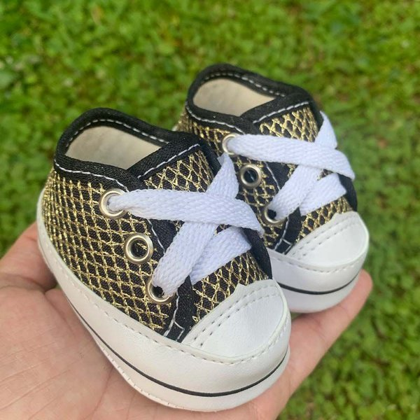 Tênis Bebê Renda Preto Dourado