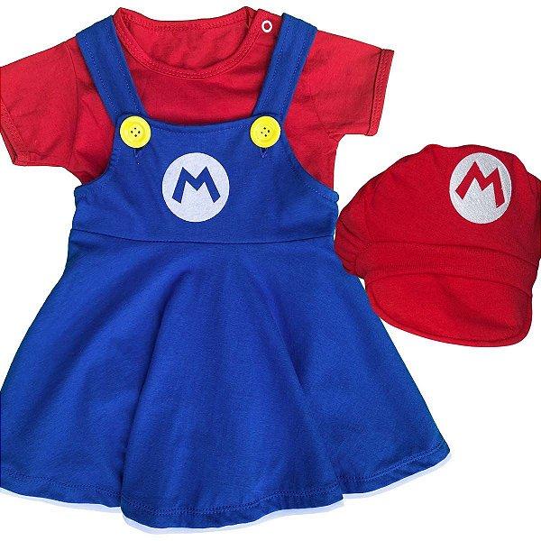 Jardineira Vestido Bebê Mario Bros Menina com Boina