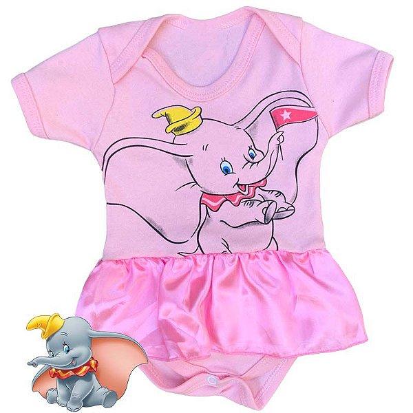 Body Vestido Bebê Dumbo Rosa