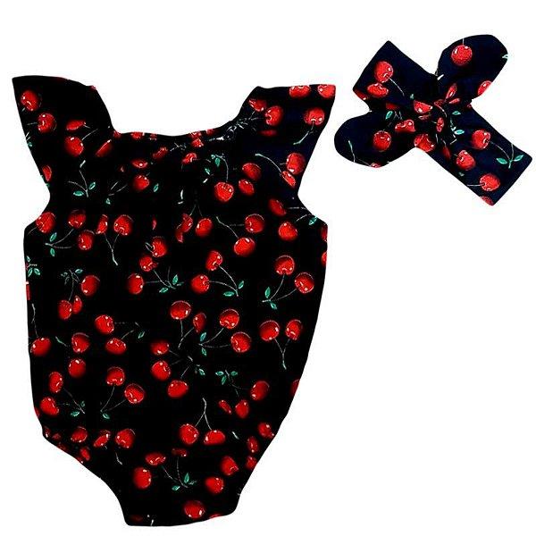 Body Bebê Estampado Cereja com Turbante Marinho