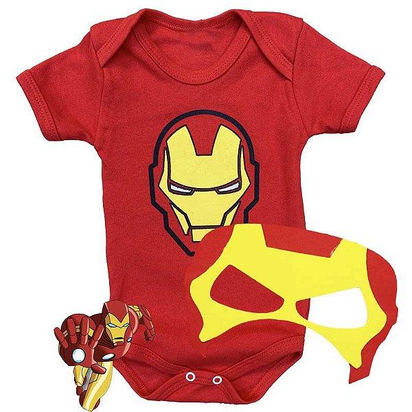 Kit Body Bebê Homem de Ferro com Máscara