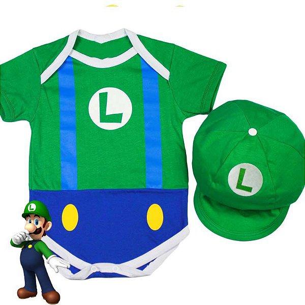 Kit Body Bebê Luxo Luigi com Boina