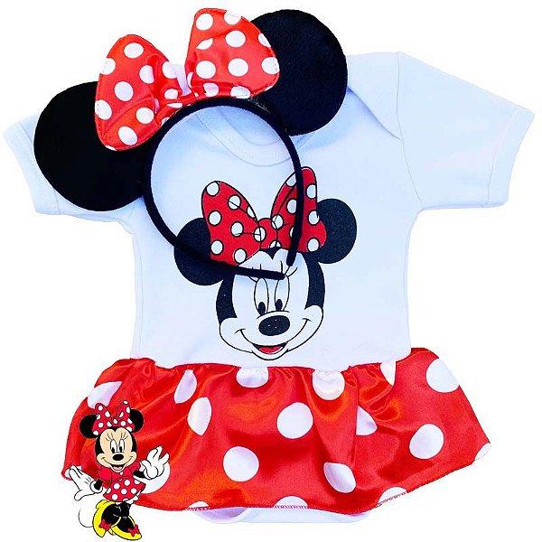 Kit Body Bebê Minnie com Tiara Orelhinhas