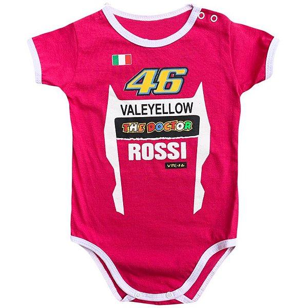 Body Bebê Luxo Moto GP Valentino Rossi The Doctor 46 Rosa