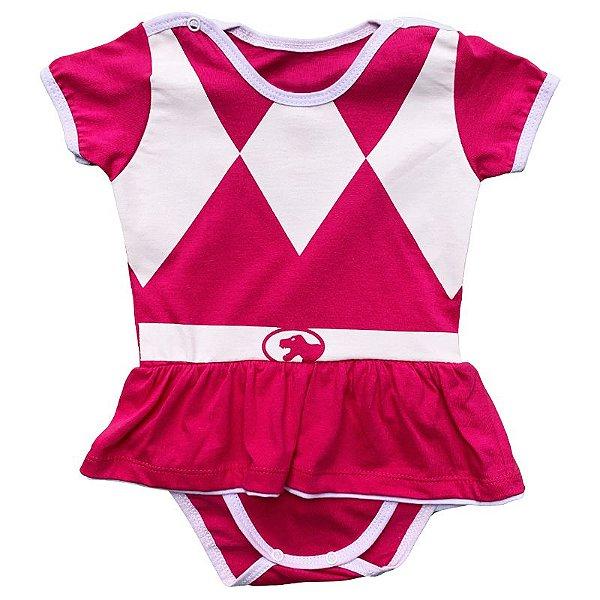 Body Vestido Bebê Luxo Power Rangers Rosa Pink